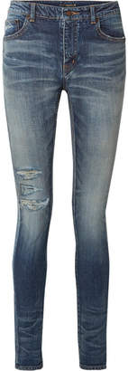 Saint Laurent Distressed High-rise Skinny Jeans - Blue