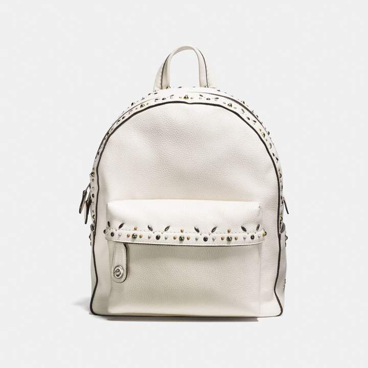 Coach Campus Backpack With Prairie Rivets - CHALK/LIGHT ANTIQUE NICKEL - STYLE