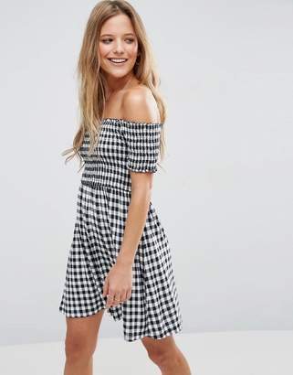 ASOS Off Shoulder Sundress With Shirring In Gingham $40 thestylecure.com