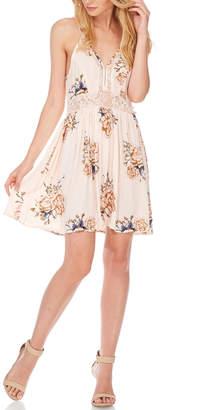 Anama Lace-Insert Floral Mini-Dress