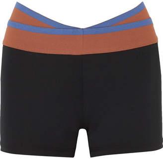 Olympia Activewear - Naxo Striped Stretch Shorts - Black