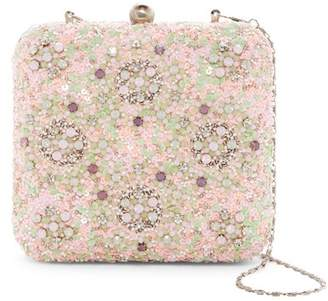 G Lish G-Lish Beaded & Sequined Squared Hard Case Clutch