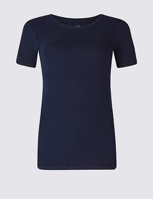 Marks and Spencer Pure Cotton Rib Crew Neck T-Shirt