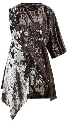 Marques Almeida Marques'almeida - Open Back Asymmetric Sequinned Mini Dress - Womens - Silver