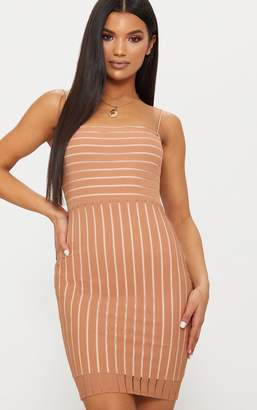 PrettyLittleThing Tan Striped Mesh Strappy Bodycon Dress