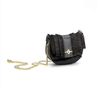 Kia Ora Black Kangaroo Leather Luna Crossbody Bag
