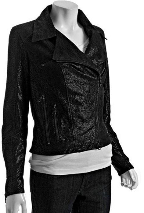 Drome black metallic print leather cropped jacket
