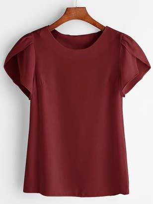 Shein Plus Petal Sleeve Solid Blouse