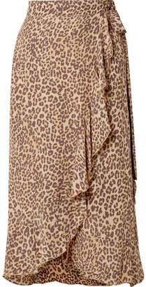 Faithfull The Brand Celeste Ruffled Leopard-print Crepe Wrap Skirt - Leopard print