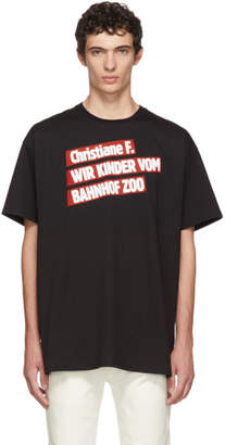 Raf Simons Black Christiane F. Kinder Bahnhof Zoo T-Shirt