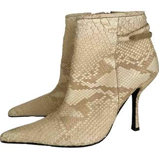 Gianni Versace Beige Python Ankle boots