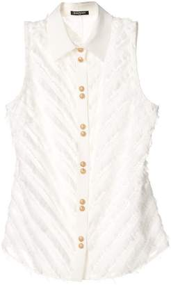 Balmain fringe-trimmed sleeveless shirt
