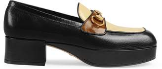 Gucci Leather platform loafer with Horsebit