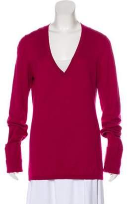 Burberry V-Neck Knit Sweater Fuchsia V-Neck Knit Sweater