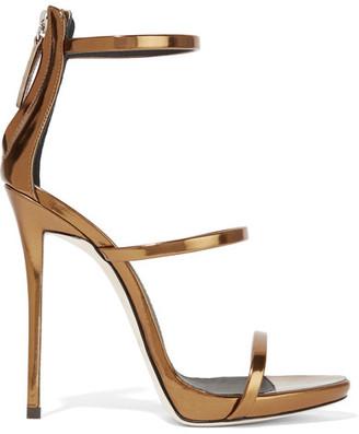 Giuseppe Zanotti - Harmony Metallic Leather Sandals - Bronze $845 thestylecure.com