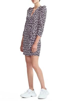 Maje Ripanta Leopard Print Wrap Front Dress
