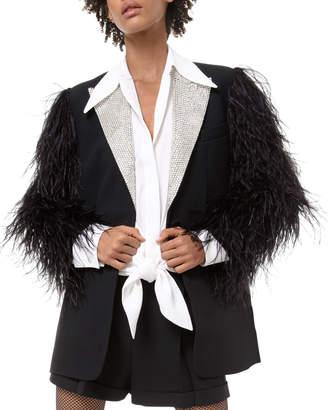 Michael Kors Feather-Sleeve Rhinestone-Lapel Two-Button Jacket