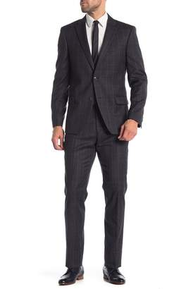 Tommy Hilfiger Charcoal White Windowpane Two Button Notch Lapel Wool Classic Fit Suit