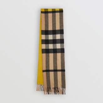 Burberry Colour Block Check Cashmere Scarf, Yellow