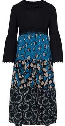 Anna Sui Crepe-paneled Printed Silk-jacquard, Georgette And Chiffon Dress