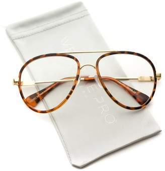 clear WearMe Pro - Large Vintage Inspired Aviator Lens Glasses