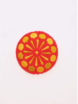 カヤ 【 】縫い飾り くるみぼたんブローチ イエロー