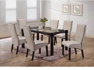 """Pilaster Designs Pres 7 Piece Cappuccino Wood & Glass Transitional 59"""" Rectangle Kitchen Dinette Formal Dining Table & 6 Gray Upholstered Parsons Side Chairs Set"""