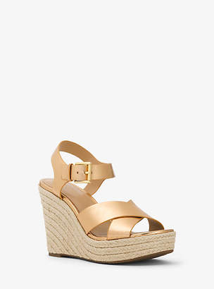 Michael Kors Kady Metallic Leather Wedge