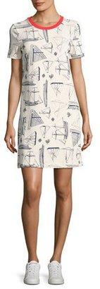 Tory Burch Adrift Sailboat-Print Cotton T-Shirt Dress, White $225 thestylecure.com