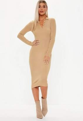 Missguided Button Collar Long Sleeve Midi Dress