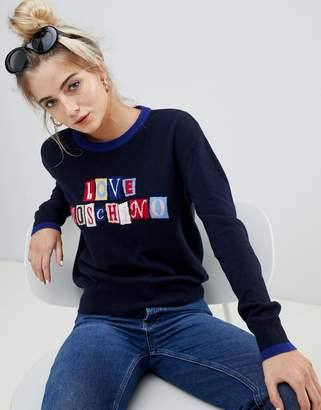 Love Moschino Cubes Logo Wool Cashmere Blend Sweater