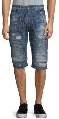 PRPS Car Trip Distressed Denim Shorts