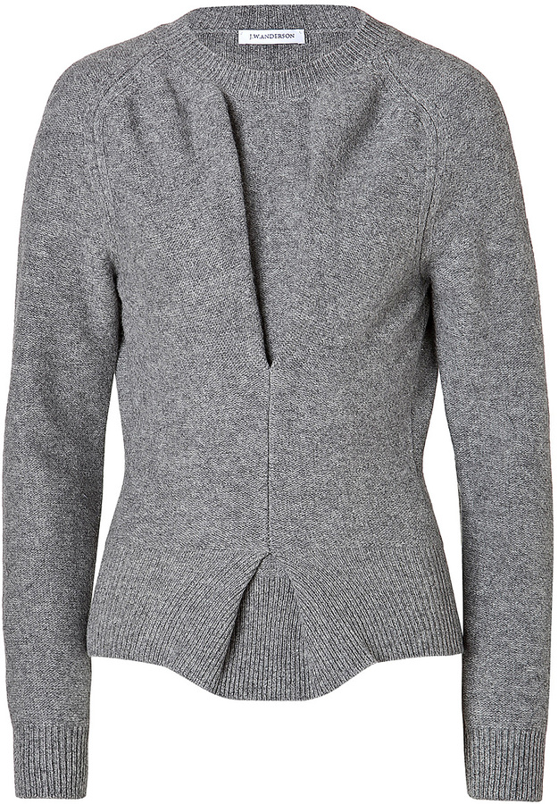 J.W.Anderson Boiled Wool Twisted Pullover in Grey