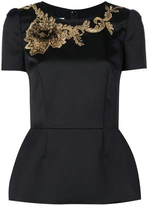 Marchesa embroidered leaf blouse
