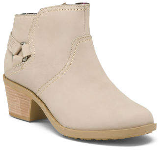 Waterproof Leather Ankle Booties