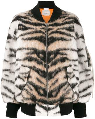 Laneus tiger stripe pattern bomber jacket