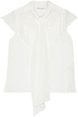 Alice + Olivia Terry Tie-neck Chantilly Lace-paneled Silk Crepe De Chine Blouse