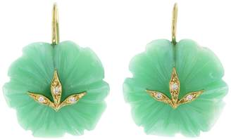 Cathy Waterman 33.09 Chrysoprase Flower Diamond Leaf Earrings - Yellow Gold