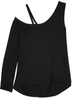Ann Demeulemeester Cold-shoulder Crepe De Chine Top - Black