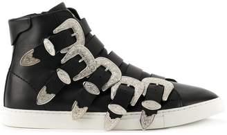 DSQUARED2 western buckle hi-top sneakers