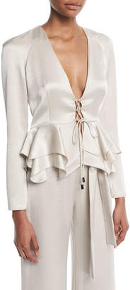 Alexis Reagan Long-Sleeve Lace-Up Peplum Top