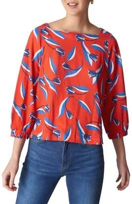 Whistles Tulip Print Linen Top