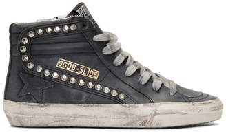 Golden Goose Black Studded Slide Sneakers