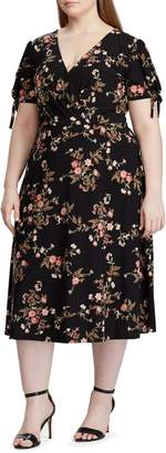Chaps Floral Jersey Fit--Flare Dress