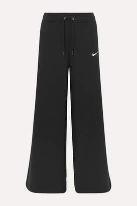 Nike Cotton-blend Jersey Wide-leg Track Pants - Black