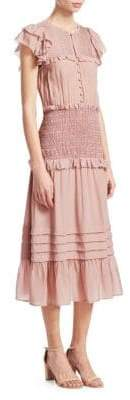 Sea Women's Tiered Ruffle Midi Dress - Blush - Size 10