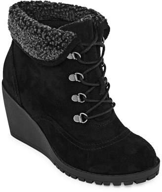 POP Womens Kapfer Lace-up Wedge Heel Booties