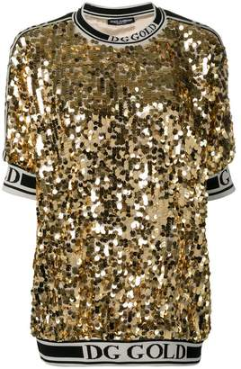 Dolce & Gabbana logo trim sequin T-shirt