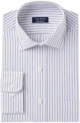 Club Room Men's Classic/Regular Fit Wrinkle-Resistant Pinstriped Dress Shirt, Created for Macy's
