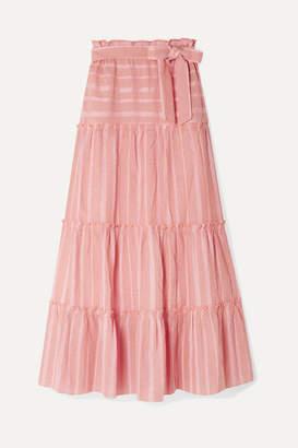 Lemlem Net Sustain Taytu Tiered Striped Cotton-blend Gauze Maxi Skirt - Pink